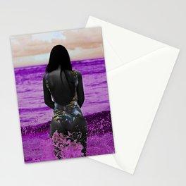 COLOUREDWOMAN - beach , sea , ocean , swim , abstract Stationery Cards