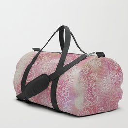 soft lace runner in light pink Duffle Bag
