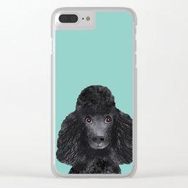 Toy Poodle black poodle pet portrait custom dog art dog breeds by pet friendly Clear iPhone Case