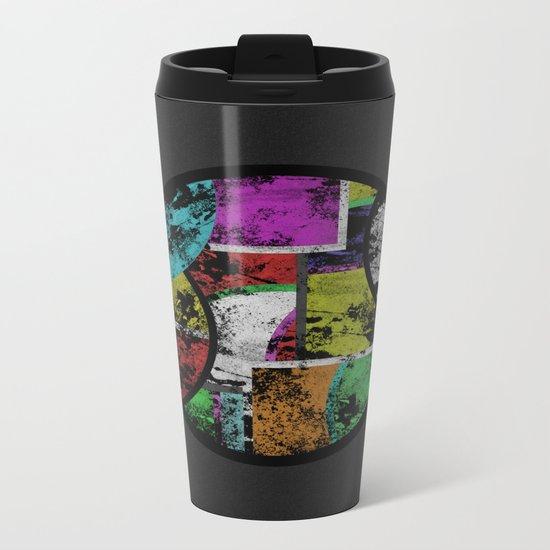 Pastel Porthole - Abstract, geometric, textured, pastel coloured artwork Metal Travel Mug