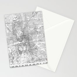 Indianapolis Map Line Stationery Cards