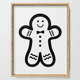 Gingerbread Man (black & white), simple, bold design Serving Tray