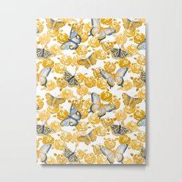 Butterflies 'n Roses Metal Print