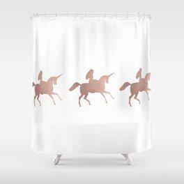 Rose gold unicorn Shower Curtain