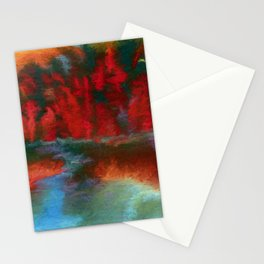 Red trees over blue water Stationery Cards