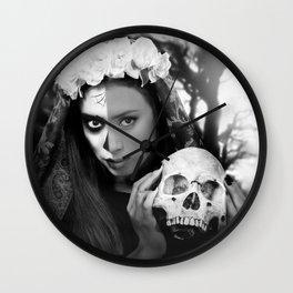 Dia de los Muertos Catrina Black and White Wall Clock