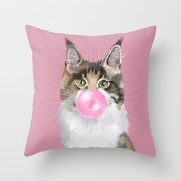 Maine Coon Playing Bubble Gum Throw Pillow