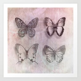 Powder Blush Pink and Lavender Butterflies Art Print