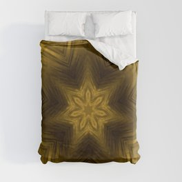 Golden Amber Metalic Abstract Star #Kaleidoscope Duvet Cover