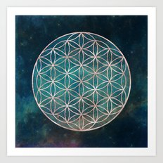 Mandala Flower of Life Rose Gold Space Stars Art Print