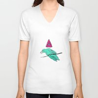 occult V-neck T-shirts featuring occult raven by Ewa Pacia
