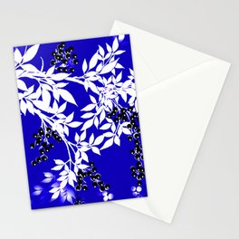 LEAF AND TREE BRANCHES BLUE AD WHITE BLACK BERRIES Stationery Cards