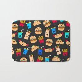 Kawaii Fast Food Burger Fries Taco Pattern Black Bath Mat