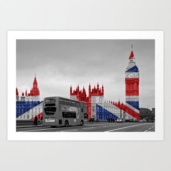 Big Ben, London Bus and Union Jack Flag Art Print