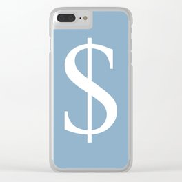 dollar sign on placid blue color background Clear iPhone Case