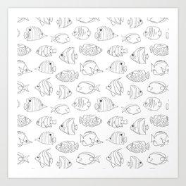 Tropical Fish Black On White Art Print