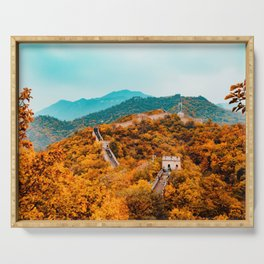 The Great Wall of China in Autumn (Color) Serving Tray