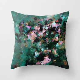 Contemporary Abstract Wall Art in Green / Teal Color Throw Pillow