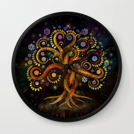Tree of Life - Yggdrasil - Rainbow Swirl Wall Clock