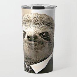 Gentleman Sloth in Authoritative Pose - Cartoon Travel Mug
