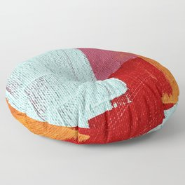 Desert Daydreams [2]: a vibrant, colorful abstract acrylic piece in pink, red, orange, and blue Floor Pillow