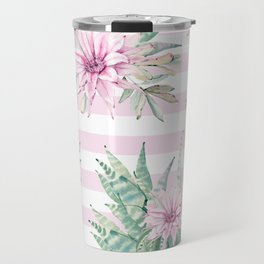 Rose Stripe Succulents - Pink and Mint Green Cactus Pattern Travel Mug