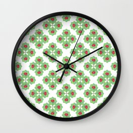 Floral Collage Check Pattern Wall Clock