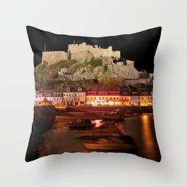 Jersey Night Castle - Mont Orgueil Throw Pillow