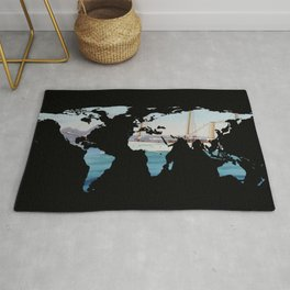 World Map Silhouette - Sailing Round The World Rug