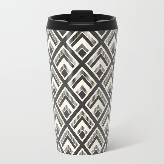 Diamond Pattern Light & Dark Metal Travel Mug