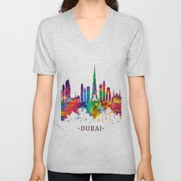 Dubai UAE Skyline Unisex V-Neck