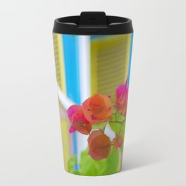 Colored Flowers in Front of Windows House Travel Mug
