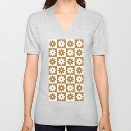 sixties floral checkerboard pattern Unisex V-Neck