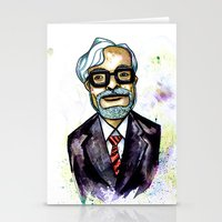hayao miyazaki Stationery Cards featuring Hayao Miyazaki by Grant Hunter
