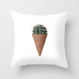 Icecream Cactus, Funny Cactus Print Throw Pillow