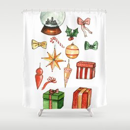 Hand drawn Christmas Holiday Ugly Sweater Office Party Shower Curtain