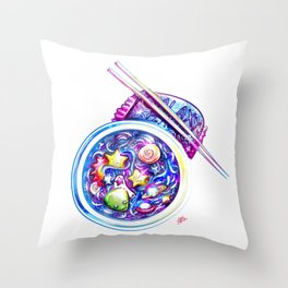 Galaxy Flavored Ramen Throw Pillow