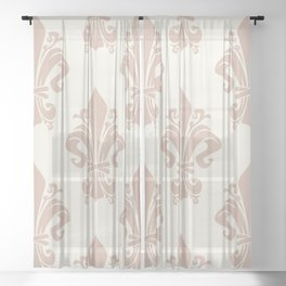 Antique Dusty Pink Royal Lily Symbol Victorian Pattern on Vintage White Background Sheer Curtain