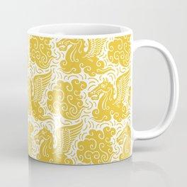 Pegasus Pattern Mustard Yellow Coffee Mug