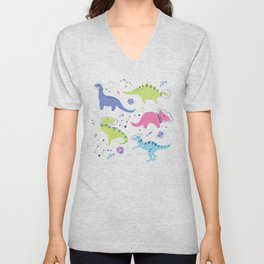 Dinosaurs in Space Unisex V-Neck