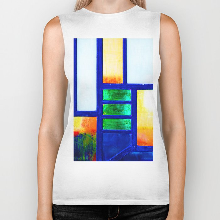Art Deco Colorful Stained Glass Biker Tank