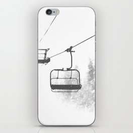 Chairlift Abyss // Black and White Chair Lift Ride to the Top Colorado Mountain Artwork iPhone Skin