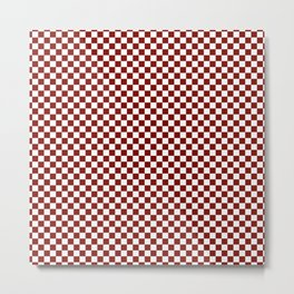 Vintage New England Shaker Barn Red and White Milk Paint Large Square Checker Pattern Metal Print