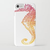 seahorse iPhone & iPod Cases featuring Red & Orange Seahorse by Aloke Design
