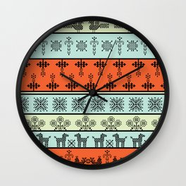 folk embroidery, flowers, birds, peacocks, horse, symbols earth, sun fertility, harvesting Wall Clock