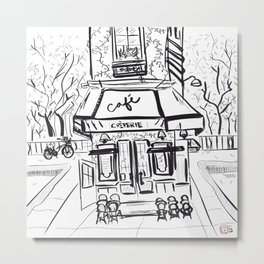 Creperie Cafe in Autumn (Minimal Line Drawing) Metal Print