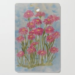 Asters Acrylic Floral Painting by Rosie Foshee for wall decor, and to share by stationary & stickers Cutting Board
