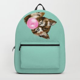 Bubble Gum Baby Cat in Green Backpack