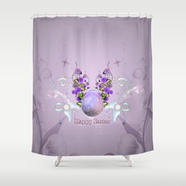 Happy easter, easter egg with flowers Shower Curtain