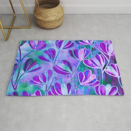 EFFLORESCENCE Lavender Purple Blue Colorful Floral Watercolor Painting Summer Garden Flowers Pattern Rug